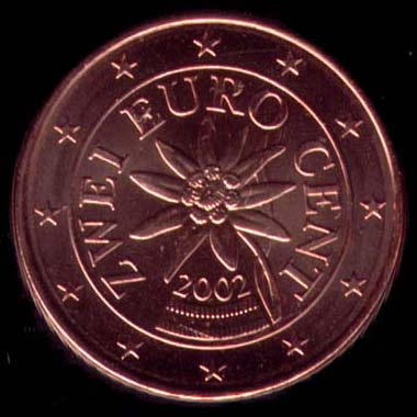 2 cêntimos euro Áustria